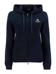 Loro Piana - Tricolour logo hoodie in blue