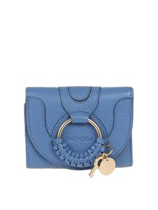 See by Chloé - Trifold grained goatskin wallet in light blue