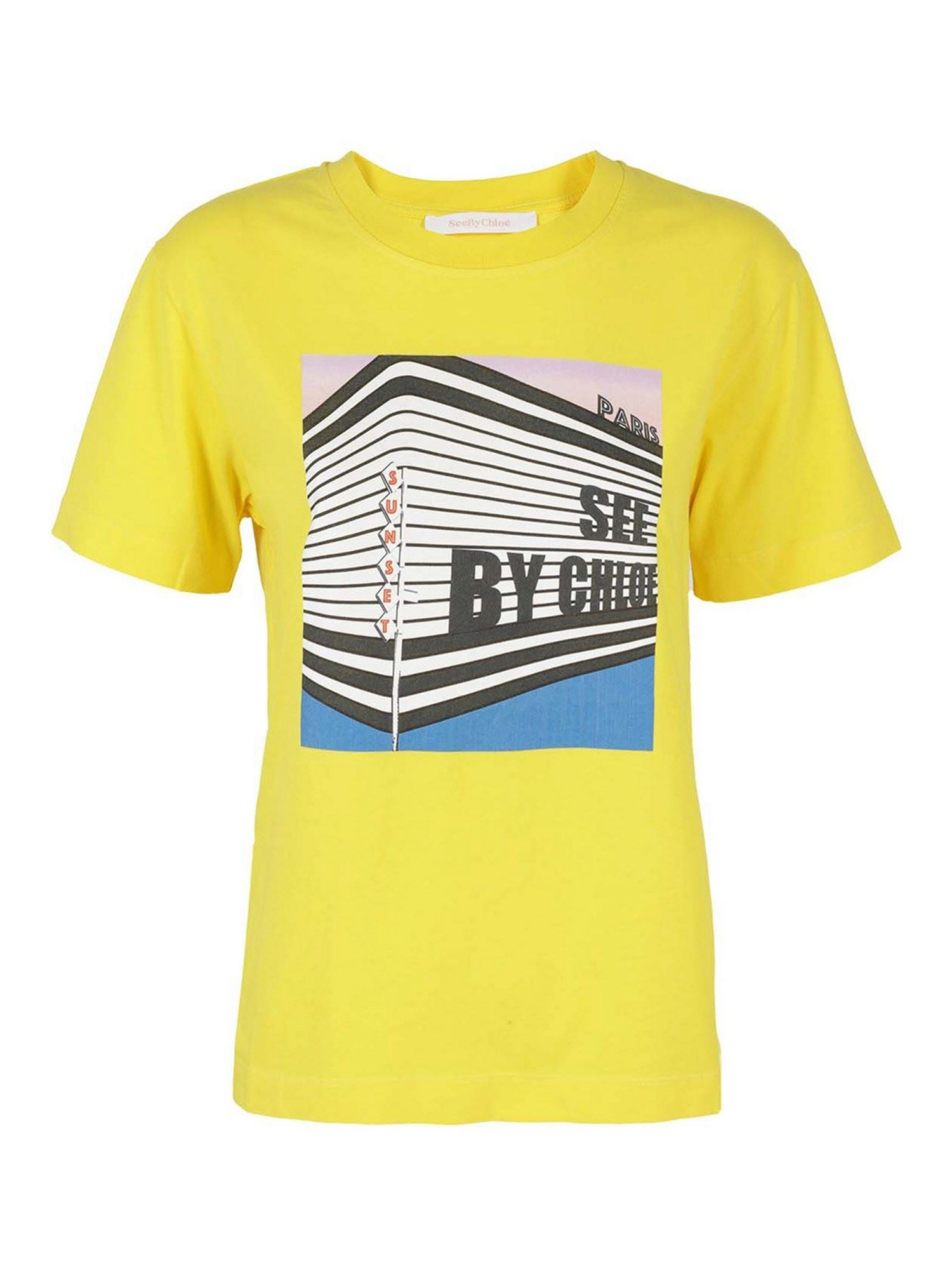 See By Chloé Cottons DIGITAL PRINT COTTON T-SHIRT IN YELLOW