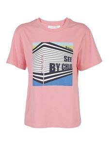 See by Chloé - Digital print cotton T-shirt in Quartz Pink color