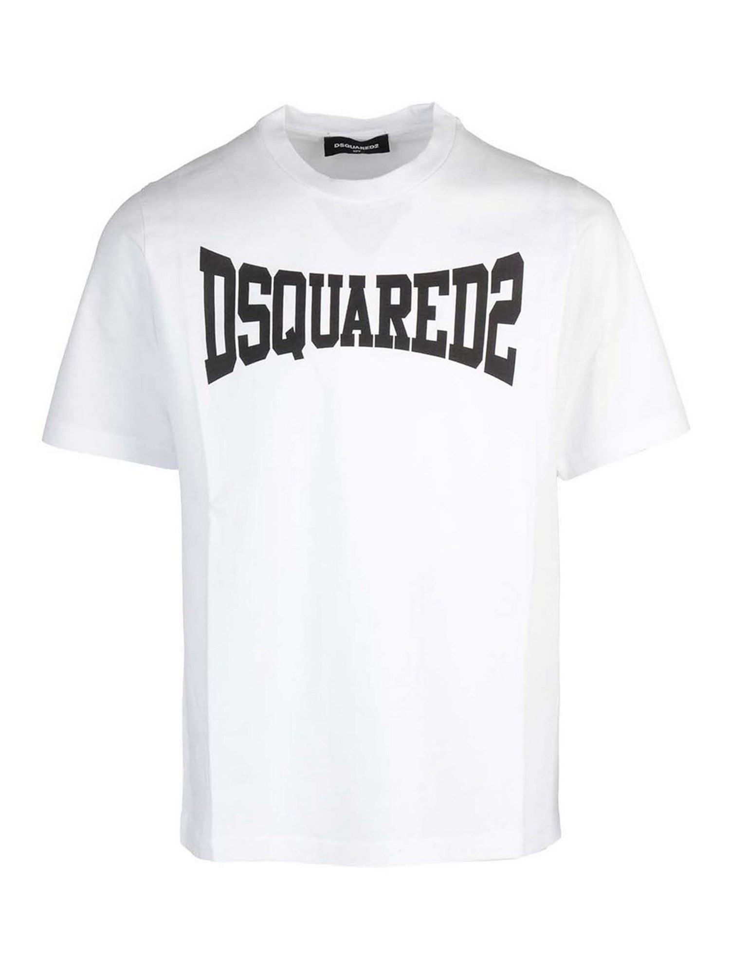 Dsquared2 Kids' Logo Print Cotton T-shirt In White