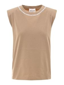 Semicouture - Cotton tank top in beige