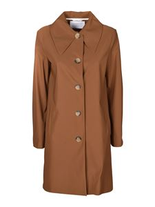 Harris Wharf London - Tech fabric over coat in camel color