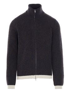 Maison Margiela - Full zip cardigan in blue and brown