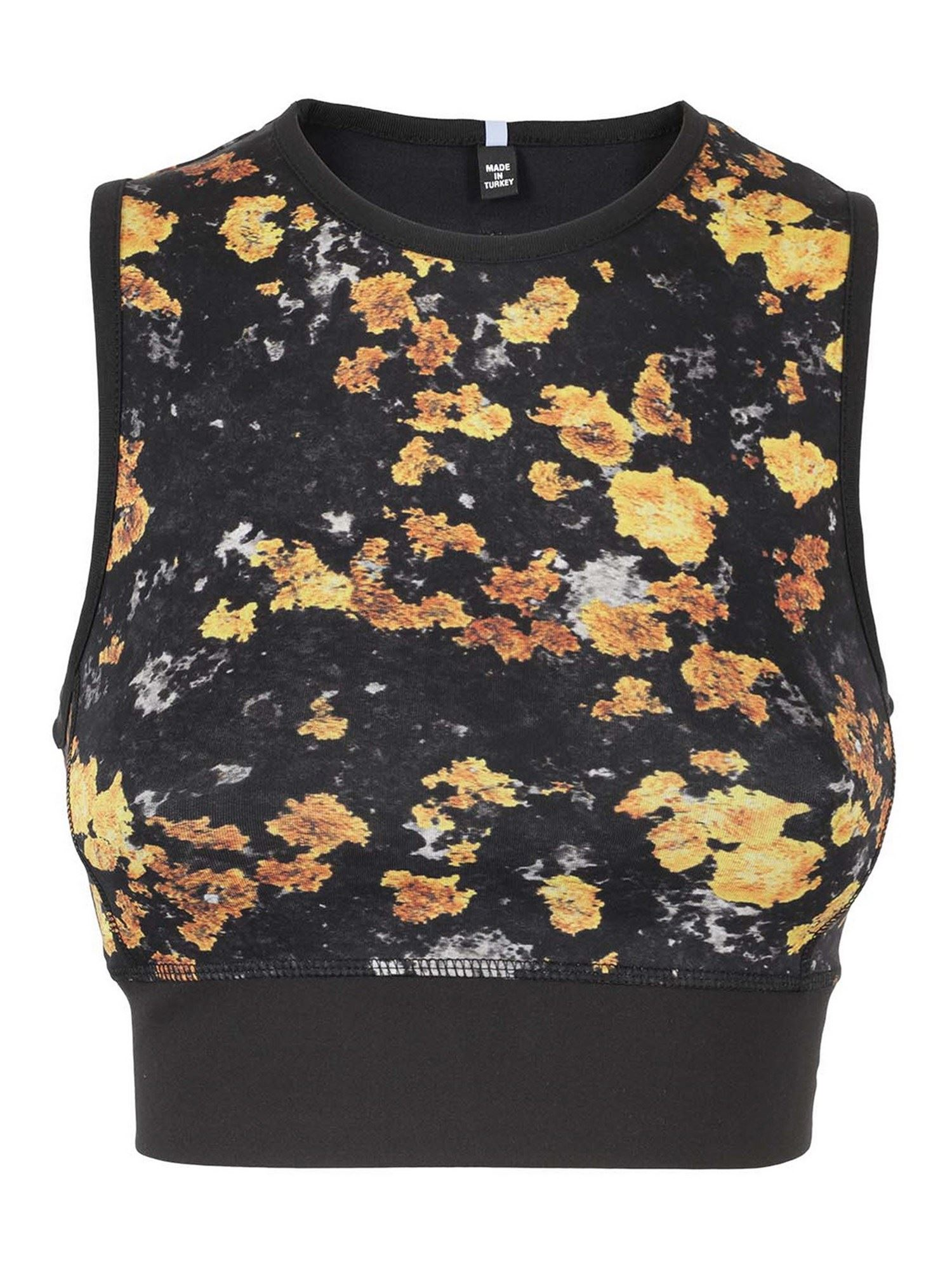 Mcq By Alexander Mcqueen Tops FLORAL PRINT CROPPED TOP IN BLACK