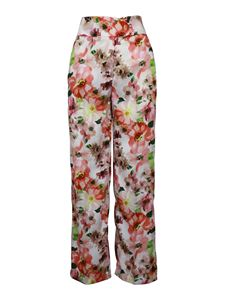 Patrizia Pepe - Floral patterned twill palazzo trousers multicolor