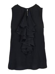 Patrizia Pepe - Sleeveless viscose blouse in black