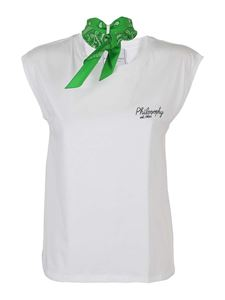 Philosophy di Lorenzo Serafini - Contrasting bow T-shirt in white