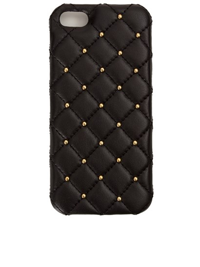 black leather iphone 5 cover with gold-colored studs. - 2ME Style - iphone 5 cover