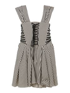 Philosophy di Lorenzo Serafini - Striped drill dress in black and white
