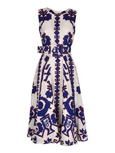 Samantha Sung - Avenue dress in white and cobalt blue