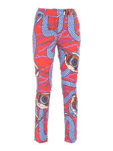 Stella Jean - Snake print pants in red and light blue