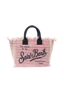 MC2 Saint Barth - Striped print bag in beige red and blue