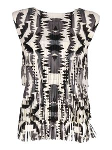 PLEATS PLEASE Issey Miyake - Zigzag top in black and white