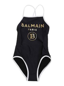 Balmain - Logo print one-piece in black