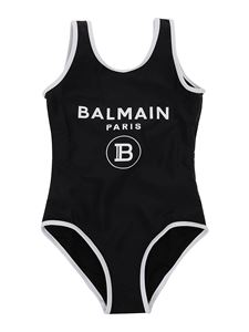 Balmain - Logo print one-piece swimsuit in black