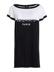 Balmain - Colour-block jersey short dress in black