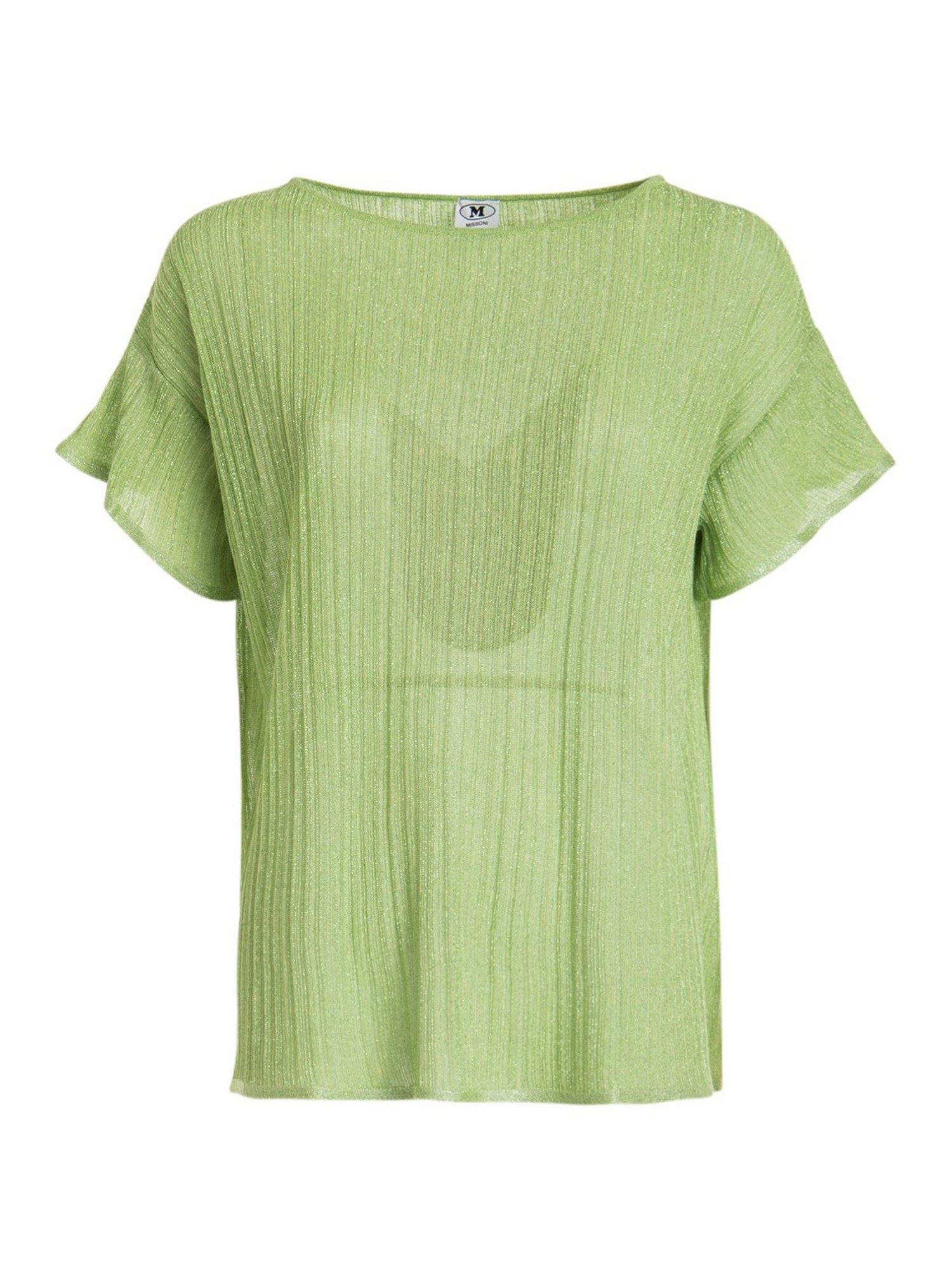 M Missoni RIBBED T-SHIRT IN GREEN