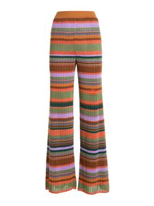 M Missoni - Striped ribbed trousers in multicolor