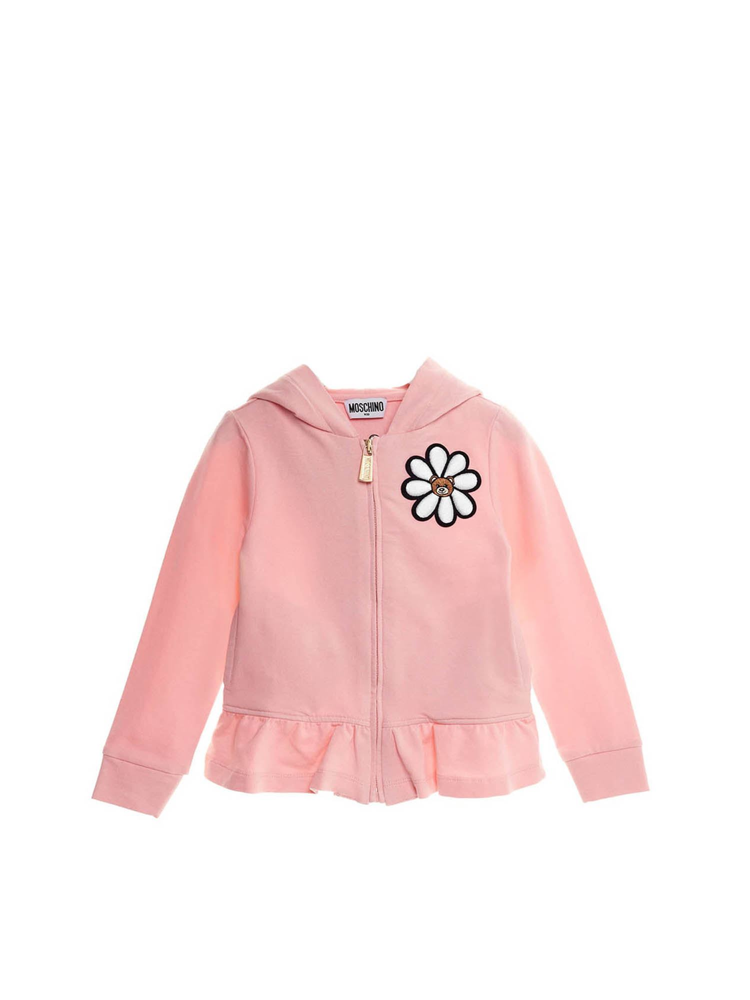 Moschino ZIPPED AND HOODED DAISY SWEATSHIRT IN PINK