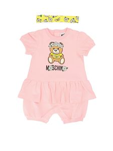 Moschino Kids - Teddy print romper suit in pink