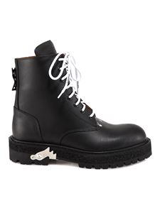 Off-White - Sponge effect sole combat boots in black