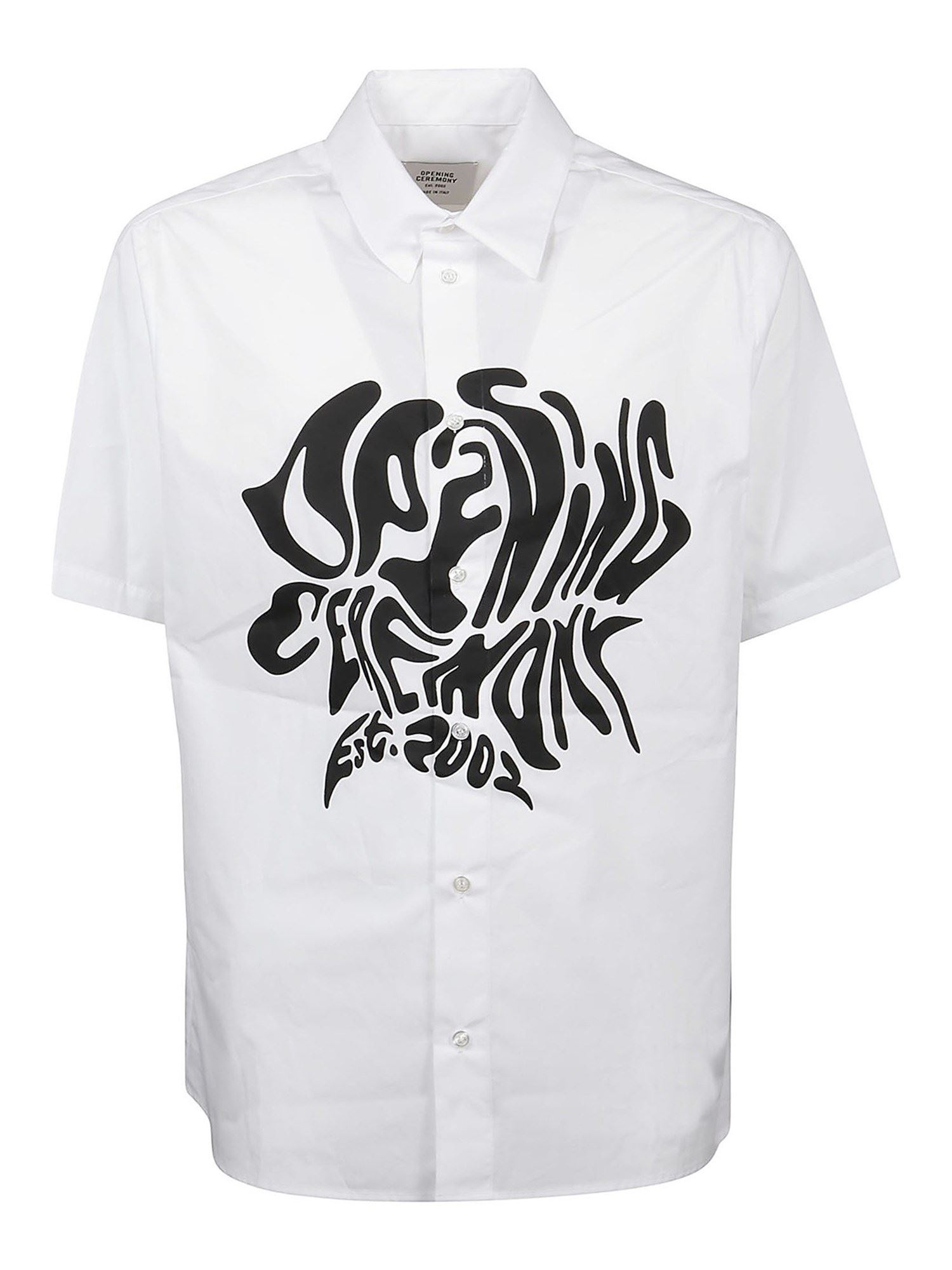 Opening Ceremony Cottons OPENING CEREMONY MELTED LOGO SHIRT IN WHITE