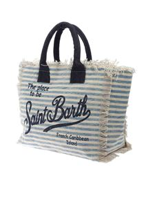 MC2 Saint Barth - Vanity striped bag in light blue and ecrù