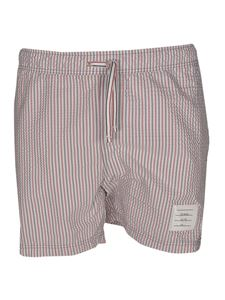 Thom Browne - Red and blue stripes swim shorts in white