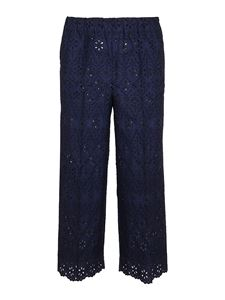 Parosh - Broderie anglaise pants in blue