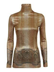 Paco Rabanne - Laminated high neck top in gold color