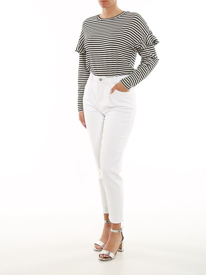 J Brand - High waisted straight fit jeans in white