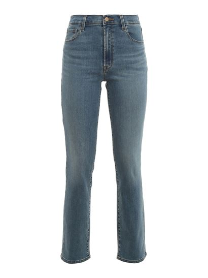 J Brand - High waisted straight fit jeans in blue