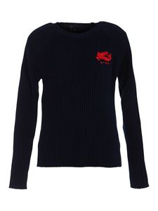 Etro - Rib knitted cotton sweater in blue