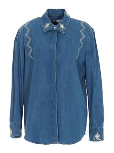 Dondup - Embroidered denim shirt in blue