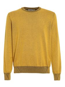 Canali - Cotton sweater in mélange yellow