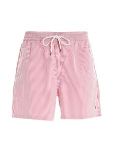 POLO Ralph Lauren - Striped swim trunks in red and white