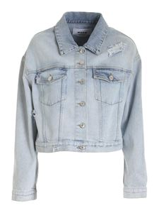 MSGM - Destroyed-effect jacket in light blue