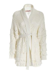 Twin-Set - Fringed cardigan in white