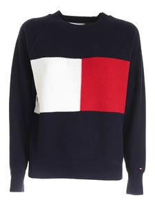 Tommy Hilfiger - Textured Flag sweater in blue