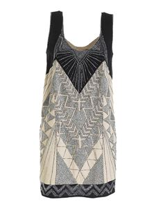 Twin-Set - Beads dress in beige and black