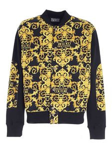 Versace Jeans Couture - Logo baroque print sweatshirt in black and yellow