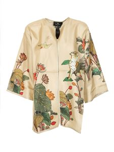 Etro - Tigers and water lilies poncho in cream