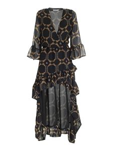 Gaelle Paris - Printed asymmetrical dress in black