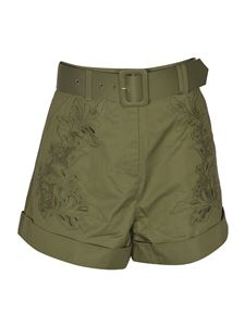 Self-Portrait - Embroidered shorts in Khaki color