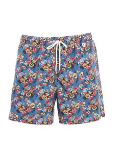 Isaia - Floral print multicolor swim shorts