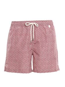 Isaia - Logo print swim shorts in red