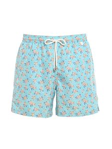 Isaia - Floral print swim shorts in light blue