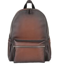 Orciani - Micron faded grainy leather backpack in brown