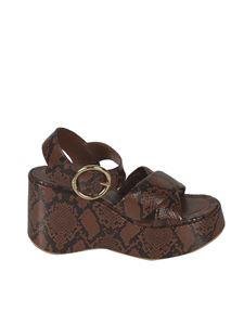 See by Chloé - Lyna reptile effect sandals in Light Brown